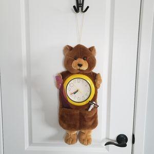 VINTAGE Plushie Teddy Bear Wall Clock
